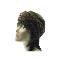 Brown Wide Cable Knit Headband