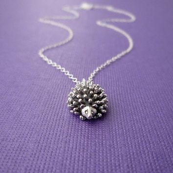 sterling hedgehog charm necklace