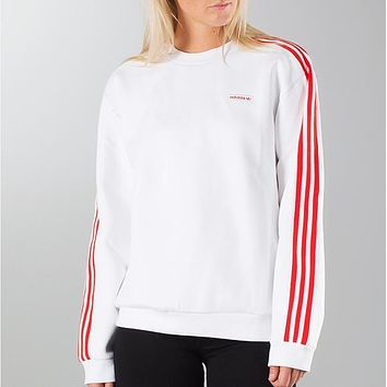 "Women/Men"" adidas"" Originals White Three Stripe Long Sleeve Tee T-Shirt"
