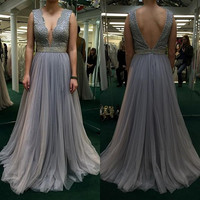 Sexy Deep V Neck Prom Dresses 2017 New Beads Backless Long Grey Tulle Formal Evening Gowns Custom