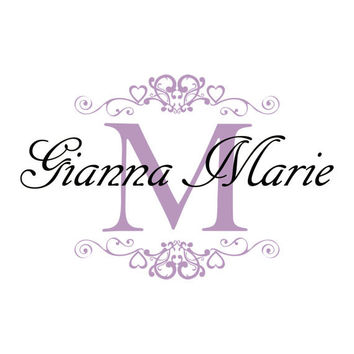 Name Wall Decal - Shabby Chic Heart Frame Personalized Name & Initial Decal for Baby Girl Nursery Vinyl Wall Art 22H x 36W GN024