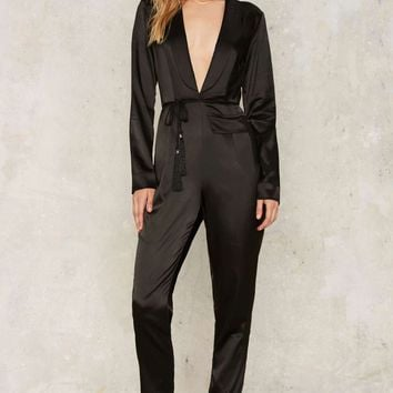 Nasty Gal Woman of Mystery Satin Plunging Jumpsuit