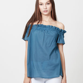 LE3NO Womens Summer Cotton Short Sleeve Off Shoulder Ruffle Top