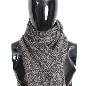 Scarf Men's Gray Knitted Wool Wrap