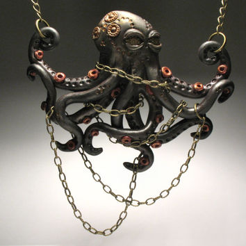 Dark Chained Octopus Necklace - Polymer Clay Jewelry