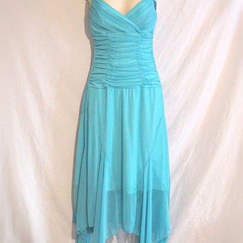 Vintage Blue Dress Prom Cocktail Semi-formal with Handkerchief Skirt Size Small