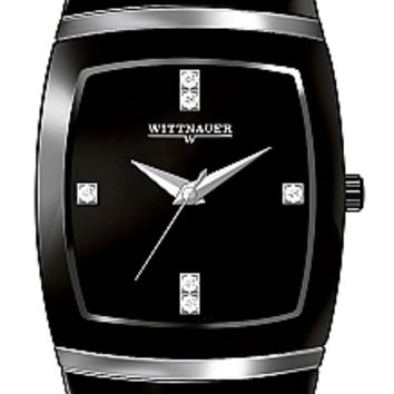 Wittnauer Ceramic Collection Men's Sapphire Black Ceramic Diamond Watch 12D03