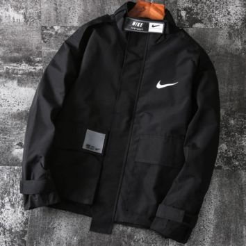 NIKE 2019 new casual work clothes retro trend men's windproof jacket Black
