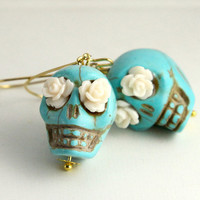 $7.50 day of the dead lovely Turquoise skull earrings with by Sevinoma