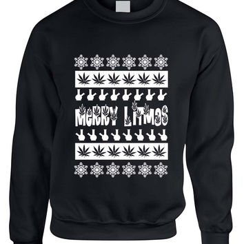Merry Litmas bong woman sweatshirt