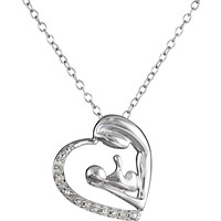 """Sterling Silver Diamond Mother and Child Pendant Necklace (1/10 cttw, J-K Color, I2-I3 Clarity), 18"""""""