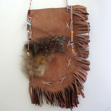 Vintage Suede Indian Native American Style Purse Fringe Fur