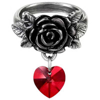 Alchemy Gothic Cherish Rose w/ Red Heart Ring