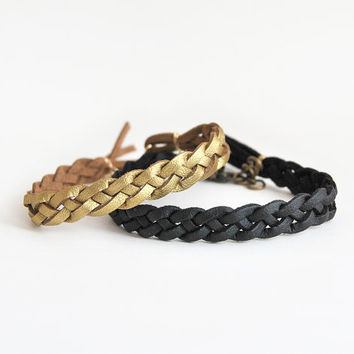 Couple bracelet set in gold and black, his hers bracelets, set of two braided bracelets, faux leather bracelets