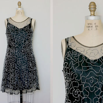 Vintage 80s mini shift beaded dress slit and dress medium 1980s vintage dress black + silver beading