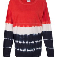 J. America Game Day 100% Cotton Jersey Tie Dye Collection-Red/Navy