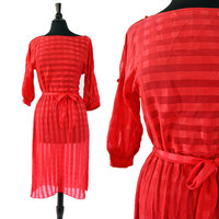 Vintage Red Dress -  Size Small Medium 1970s Striped Spring Womens Clothing / Sheer Cherry