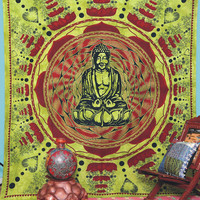 Meditation Buddha Tapestry, Indian Tapestry, Throw Wall Hanging, Ethnic Decor Art, Bed Cover, Bohemian Wall Hanging, Buddha Wall Hanging