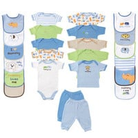 Luvable Friends 24-Piece Deluxe Safari Gift Cube | Affordable Infant Clothing