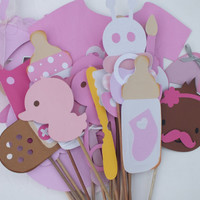 Photo booth props:  precious pink baby shower