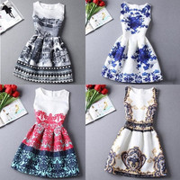 Hot sale New 2015 Europe and the United summer Fashion A-Line women casual vintage dresses printing sleeveless Vestidos dress = 1946933060