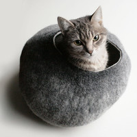 Cat Nap Cocoon / Cave / Bed / House / Vessel - Hand Felted Wool - Crisp Contemporary Design - READY TO SHIP Warm Gray Stone
