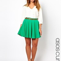 ASOS CURVE Exclusive Skater Skirt With Belt at asos.com