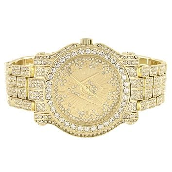 Men's Iced Out Mason Style Gold Finish Metal Link Watch