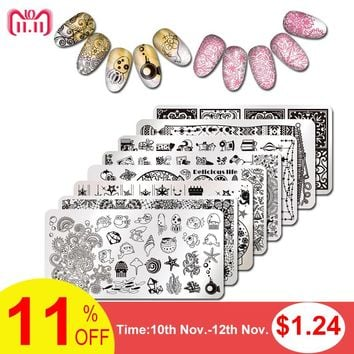1 Sheet Rectangle Nail Art Stamping Plate Christmas Flower Design Nail Template Manicure Nial Stamping Tools