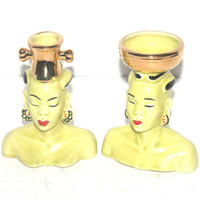 Mid Century Asian Figure Set, Man and Woman, Vase,  Antique Alchemy