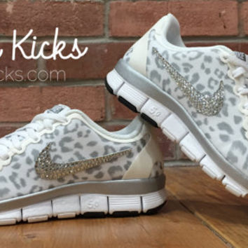 8ca5a1bed41 Leopard Bling Nike Free Run 5.0 Glitter Kicks Shoes - Blinged Out   Customized With Swarovski