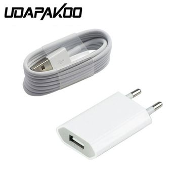 For Iphone 6 plus 5/5s/5c Power US/EU Chargers Adapter & USB Charging Charger Cable (White) Free For Mobile phone accessories