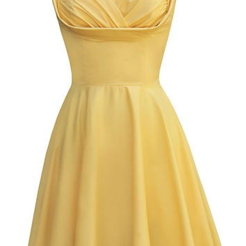 Trashy Diva Honey Dress | 1950s Inspired Dress | Yellow Poplin