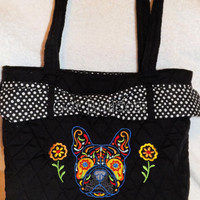 Embroidered Sugar Skull Day Of The Dead French Bulldog Quilted Bag