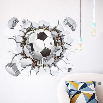 DCCKU7Q 3D Soccer Ball Football Wall Sticker Decal Kids Bedroom Home Room Decor Sport