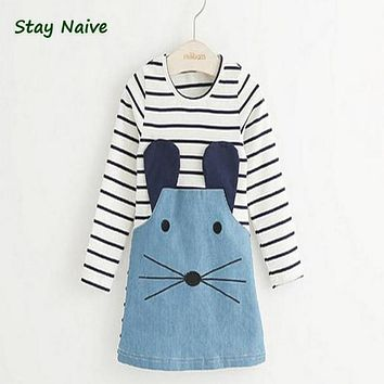 Stay Naive new 2017 striped girl dress long sleeves cute mouse children's clothing girl dress denim child's clothes