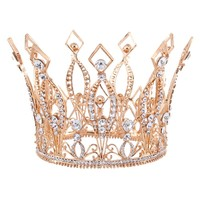 "3.9"" Tall Royal Wedding Tiara Bridal Pageant Beauty Contest Rhinestone Tiara Rose gold color Full Crown  HG088"