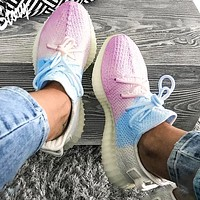 Adidas Trending Yeezy Boost 350 V2 Fresh Color Sports Sneakers Fashion running shoes White and blue powder Ice cream