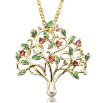 """Tree of Life"" Family Pendant Necklace Birthstone,Crystal from Swarovski,Gifts for Valentine Birthday Wedding"