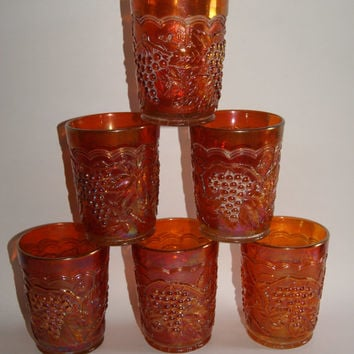 Vintage Lot Of 6 IMPERIAL GRAPE Pattern Marigold Carnival Glass Tumblers By Imperial Circa 1910