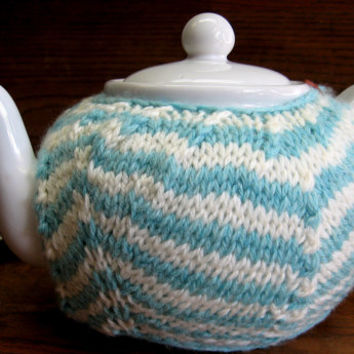 Sky Blue Chevron Knit Wool Teapot Cozy fits 6 cup teapot