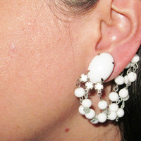 Unique Large Milk Glass Clip Back Earrings With Drape