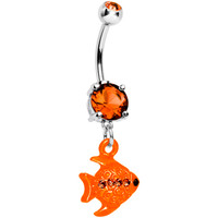 Orange Gem Neon Angel Fish Dangle Belly Ring | Body Candy Body Jewelry