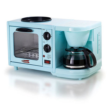 Blue, Red, White, or Black Elite Maxi-Matic 3-in-1 Coffee Maker and Toaster Oven