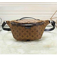 LV Louis Vuitton Fashion Leather Women's Waist Bag Brown