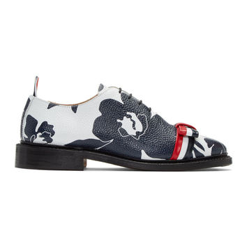 Navy & White Floral Outline Wholecut Bow Oxfords