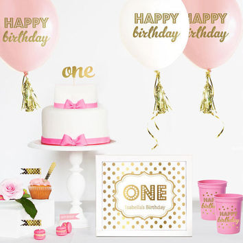 ONE Cake Topper - 1st Birthday Cake Topper - First Birthday Cake Topper - Smash Cake Topper - Pink and Gold Birthday Cake Topper - Twinkle