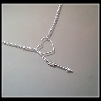 Silver Arrow through heart lariat necklace  by MelissaMarieRussell