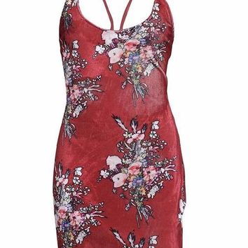 Floral Cross Back Mini Dress