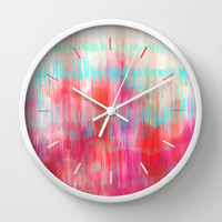 Color Song - abstract in pink, coral, mint, aqua Wall Clock by micklyn